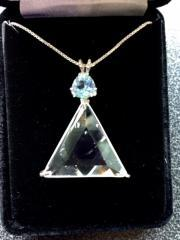 Clear Quartz Vogel Triangle With Blue Topaz - Protection & Communication