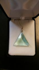 *NEW* Blessed Large Green Obsidian Casa Triangle Pendant On Chain