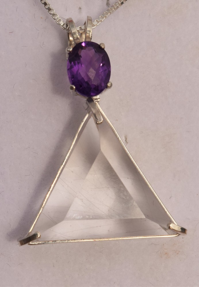 Clear Quartz Vogel Triangle With Amethyst - Calming Brings Inner Peace!