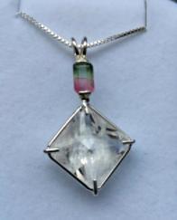 Rare Blessed Clear Quartz Magician Stone W/ Bi - Color Tourmaline