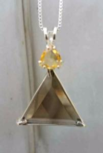 Smokey Quartz Vogel Triangle With Citrine - Manifest Masterpiece!
