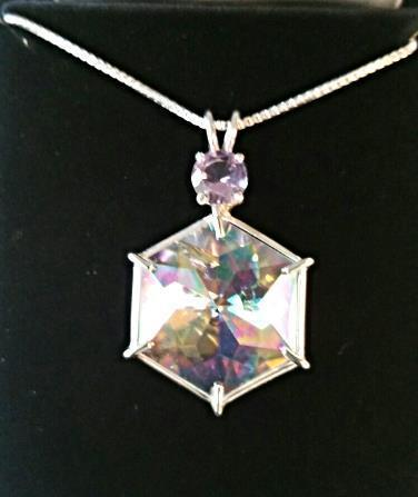 Angel Aura Flower Of Life With Amethyst*Rare Cut*Absolutely Beautiful!