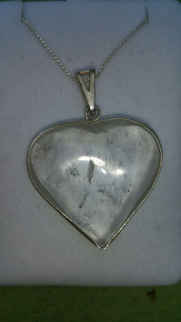 *NEW* Blessed Clear Quartz Framed Casa Heart Pendant On Sterling Chain